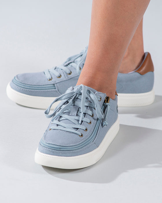 Women's Storm Blue (Brown Mustache) BILLY Classic Lace Lows, zipper shoes, like velcro, that are adaptive, accessible, inclusive and use universal design to accommodate an afo. Footwear is medium and wide width, M, D and EEE, are comfortable, and come in toddler, kids, mens, and womens sizing.