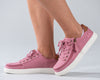 Women's Dusty Rose (Brown Mustache) BILLY Classic Lace Lows, zipper shoes, like velcro, that are adaptive, accessible, inclusive and use universal design to accommodate an afo. Footwear is medium and wide width, M, D and EEE, are comfortable, and come in toddler, kids, mens, and womens sizing.