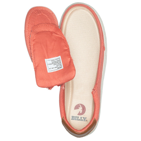 Women's Coral (Brown Mustache) BILLY Classic Lace Lows, zipper shoes, like velcro, that are adaptive, accessible, inclusive and use universal design to accommodate an afo. Footwear is medium and wide width, M, D and EEE, are comfortable, and come in toddler, kids, mens, and womens sizing.