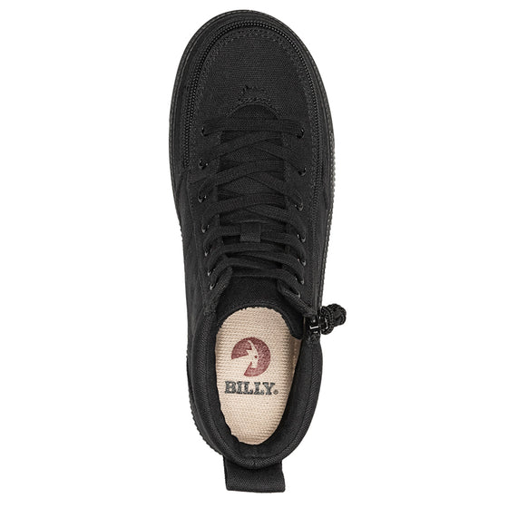 Women's Black to the Floor BILLY Classic Lace Highs, zipper shoes, like velcro, that are adaptive, accessible, inclusive and use universal design to accommodate an afo. Footwear is medium and wide width, M, D and EEE, are comfortable, and come in toddler, kids, mens, and womens sizing.
