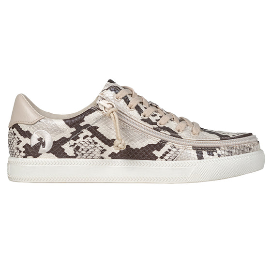 Women's Snake BILLY Classic Lace Lows, zipper shoes, like velcro, that are adaptive, accessible, inclusive and use universal design to accommodate an afo. Footwear is medium and wide width, M, D and EEE, are comfortable, and come in toddler, kids, mens, and womens sizing.