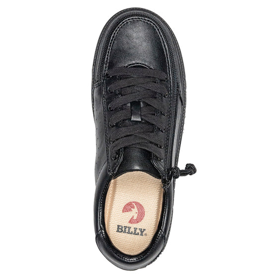 Women's Black to the Floor Faux Leather BILLY Low Sneakers, zipper shoes, like velcro, that are adaptive, accessible, inclusive and use universal design to accommodate an afo. Footwear is medium and wide width, M, D and EEE, are comfortable, and come in toddler, kids, mens, and womens sizing.