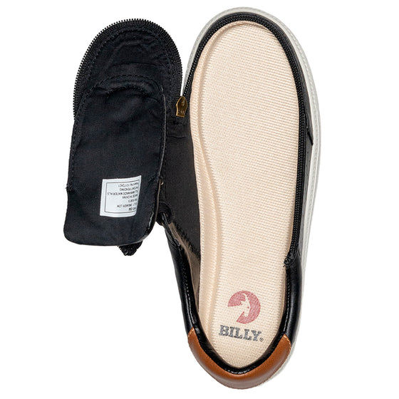 Women's Black (Brown Mustache) BILLY Low Sneakers, zipper shoes, like velcro, that are adaptive, accessible, inclusive and use universal design to accommodate an afo. Footwear is medium and wide width, M, D and EEE, are comfortable, and come in toddler, kids, mens, and womens sizing.