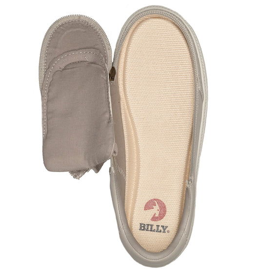 Women's Dove Grey BILLY Low Sneakers, zipper shoes, like velcro, that are adaptive, accessible, inclusive and use universal design to accommodate an afo. Footwear is medium and wide width, M, D and EEE, are comfortable, and come in toddler, kids, mens, and womens sizing.