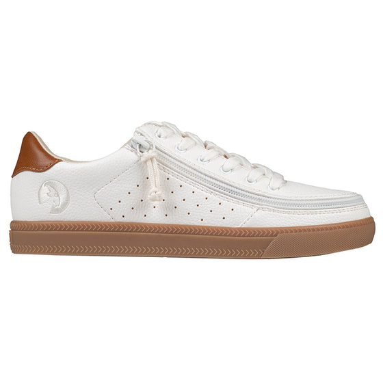 Women's White (Brown Mustache) BILLY Low Sneakers, zipper shoes, like velcro, that are adaptive, accessible, inclusive and use universal design to accommodate an afo. Footwear is medium and wide width, M, D and EEE, are comfortable, and come in toddler, kids, mens, and womens sizing.