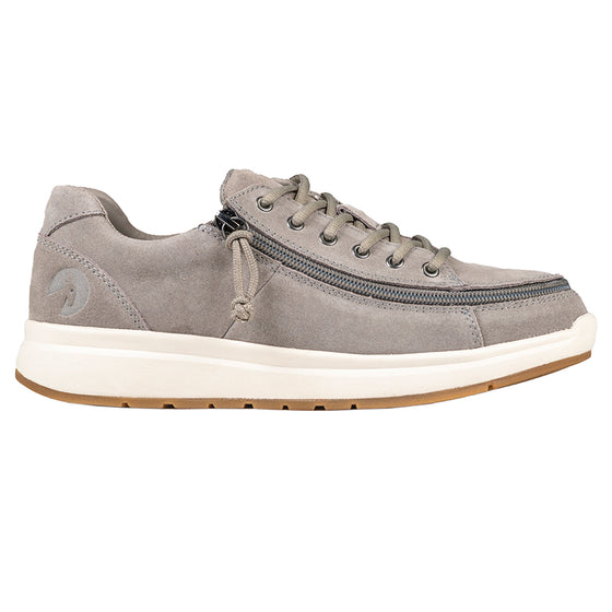 Women's Grey Suede BILLY Comfort Lows, zipper shoes, like velcro, that are adaptive, accessible, inclusive and use universal design to accommodate an afo. Footwear is medium and wide width, M, D and EEE, are comfortable, and come in toddler, kids, mens, and womens sizing.