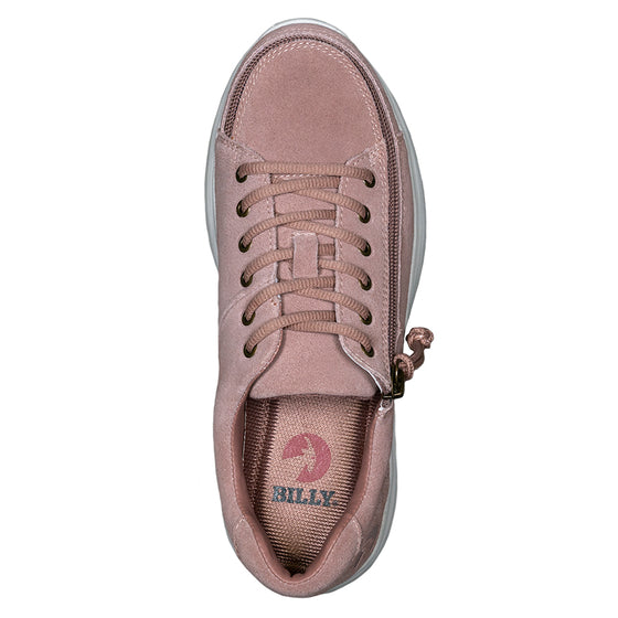 Women's Blush Suede BILLY Comfort Lows, zipper shoes, like velcro, that are adaptive, accessible, inclusive and use universal design to accommodate an afo. Footwear is medium and wide width, M, D and EEE, are comfortable, and come in toddler, kids, mens, and womens sizing.