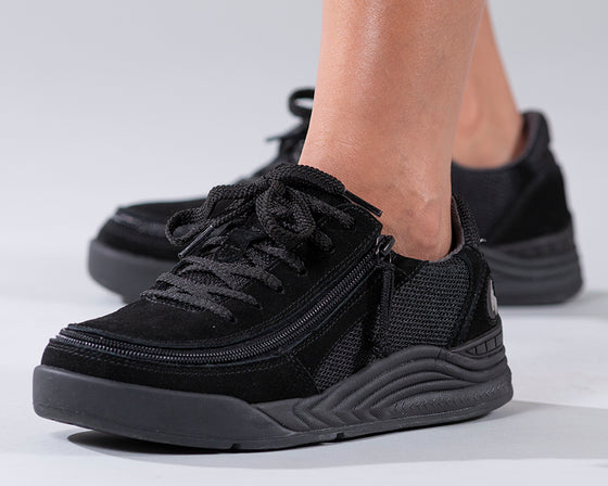 Women's Black Suede/Mesh BILLY Comfort Classic Lows, zipper shoes, like velcro, that are adaptive, accessible, inclusive and use universal design to accommodate an afo. Footwear is medium and wide width, M, D and EEE, are comfortable, and come in toddler, kids, mens, and womens sizing.