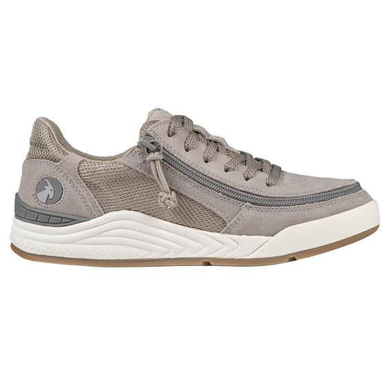 Women's Charcoal Suede/Mesh BILLY Comfort Classic Lows, zipper shoes, like velcro, that are adaptive, accessible, inclusive and use universal design to accommodate an afo. Footwear is medium and wide width, M, D and EEE, are comfortable, and come in toddler, kids, mens, and womens sizing.