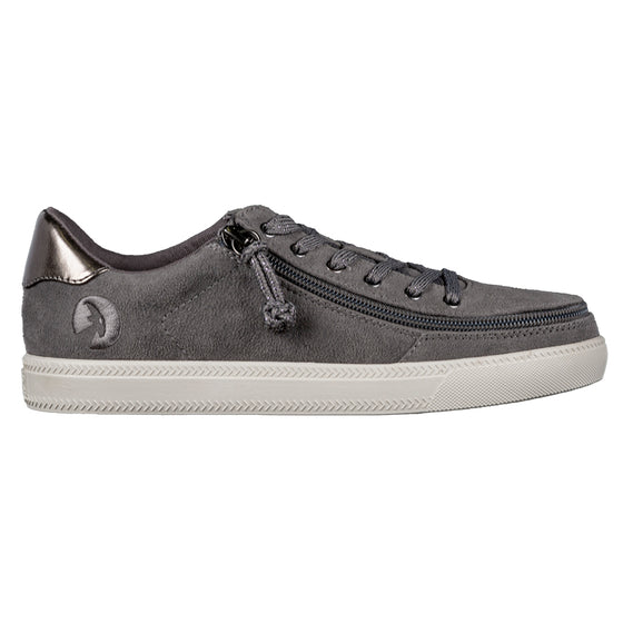 Women's Charcoal BILLY Classic Lace Lows, zipper shoes, like velcro, that are adaptive, accessible, inclusive and use universal design to accommodate an afo. Footwear is medium and wide width, M, D and EEE, are comfortable, and come in toddler, kids, mens, and womens sizing.