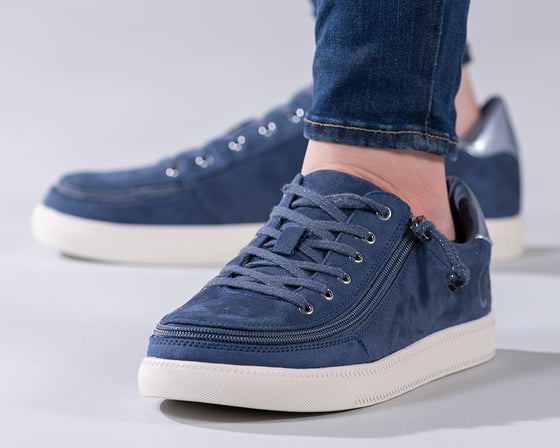 Women's Steel Blue BILLY Classic Lace Lows, zipper shoes, like velcro, that are adaptive, accessible, inclusive and use universal design to accommodate an afo. Footwear is medium and wide width, M, D and EEE, are comfortable, and come in toddler, kids, mens, and womens sizing.