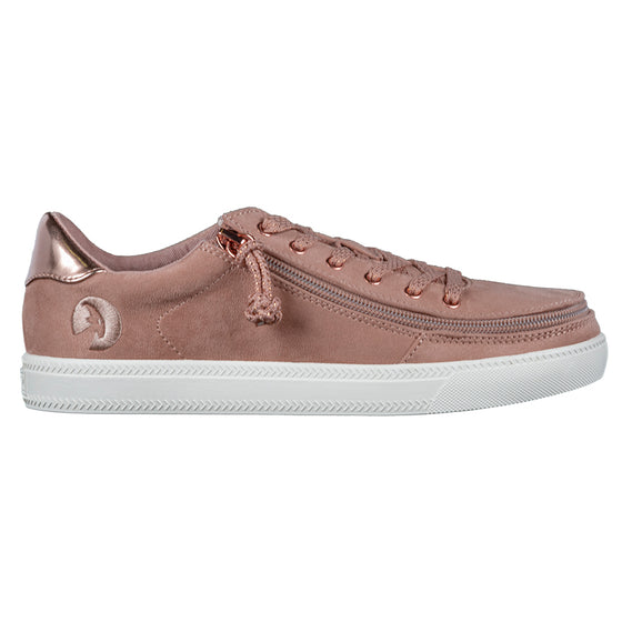 Women's Blush BILLY Classic Lace Lows, zipper shoes, like velcro, that are adaptive, accessible, inclusive and use universal design to accommodate an afo. Footwear is medium and wide width, M, D and EEE, are comfortable, and come in toddler, kids, mens, and womens sizing.
