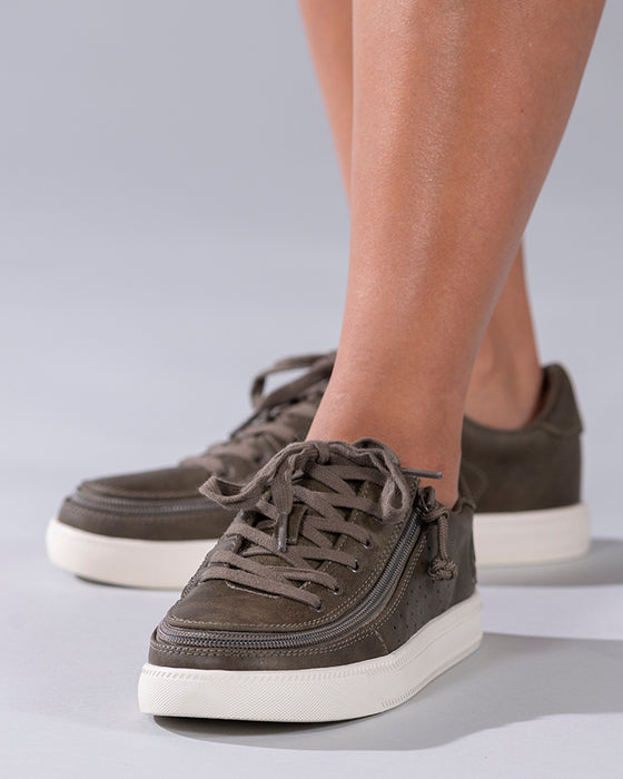 Women's Olive BILLY Sneaker Lows, zipper shoes, like velcro, that are adaptive, accessible, inclusive and use universal design to accommodate an afo. Footwear is medium and wide width, M, D and EEE, are comfortable, and come in toddler, kids, mens, and womens sizing.