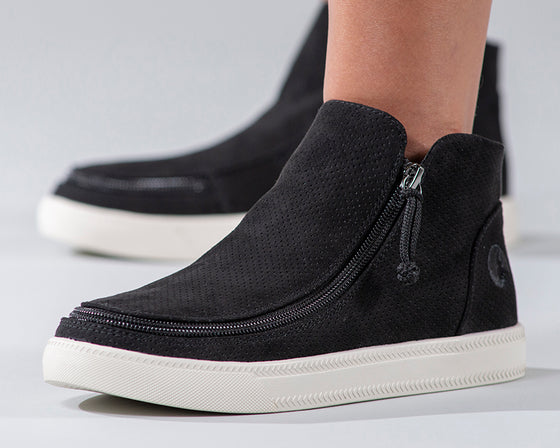 Women's Black BILLY Sneaker Mid Tops, zipper shoes, like velcro, that are adaptive, accessible, inclusive and use universal design to accommodate an afo. Footwear is medium and wide width, M, D and EEE, are comfortable, and come in toddler, kids, mens, and womens sizing.