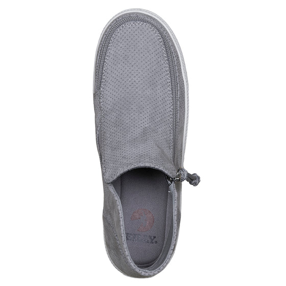 Women's Grey BILLY Sneaker Mid Tops, zipper shoes, like velcro, that are adaptive, accessible, inclusive and use universal design to accommodate an afo. Footwear is medium and wide width, M, D and EEE, are comfortable, and come in toddler, kids, mens, and womens sizing.