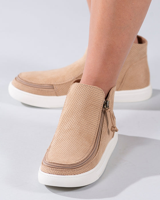 Women's Tan BILLY Sneaker Mid Tops, zipper shoes, like velcro, that are adaptive, accessible, inclusive and use universal design to accommodate an afo. Footwear is medium and wide width, M, D and EEE, are comfortable, and come in toddler, kids, mens, and womens sizing.