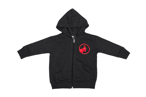 Toddler Charcoal and Red BILLY Hooded Sweatshirt