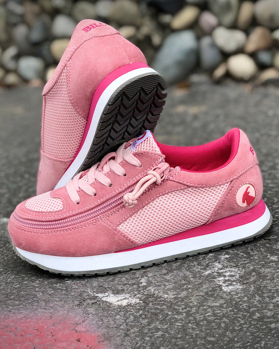 Kid's Pink/Pink BILLY Joggers, zipper shoes, like velcro, that are adaptive, accessible, inclusive and use universal design to accommodate an afo. Footwear is medium and wide width, M, D and EEE, are comfortable, and come in toddler, kids, mens, and womens sizing.