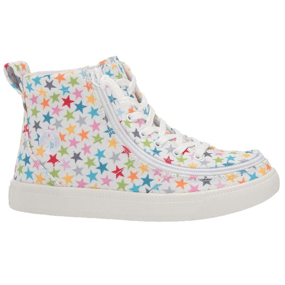 Kid's Stars BILLY Classic Lace Highs, zipper shoes, like velcro, that are adaptive, accessible, inclusive and use universal design to accommodate an afo. Footwear is medium and wide width, M, D and EEE, are comfortable, and come in toddler, kids, mens, and womens sizing.
