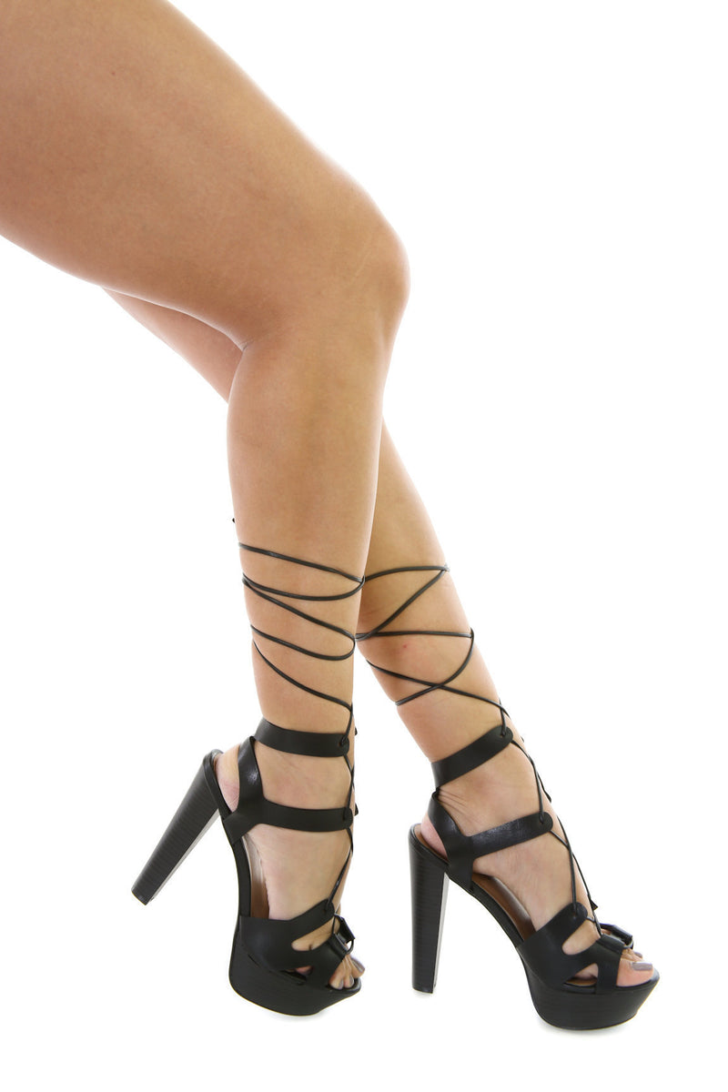 Lace Up Wooden Girl Heels