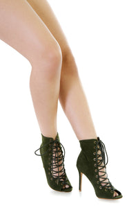 Faux Suede Lace Up Booties | vendor-unknown