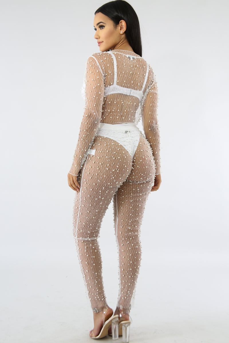 Pearl Sheer Bodysuit Set | GitiOnline