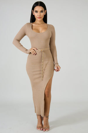 Lindsey Knit Slit Dress | GitiOnline