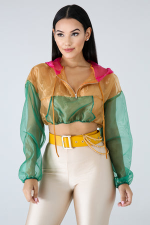 Color Sheer Crop Jacket | GitiOnline