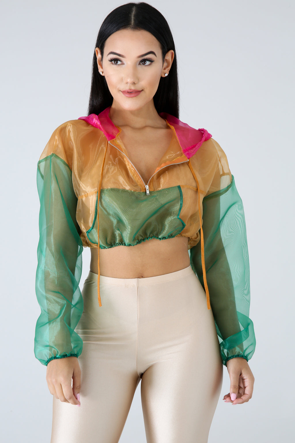 Color Sheer Crop Jacket