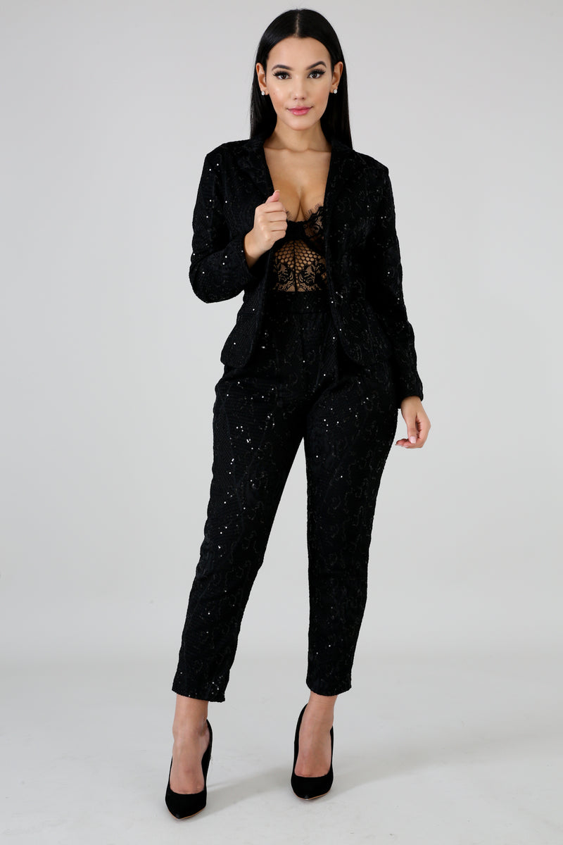 Net Sequin Blazer Set | vendor-unknown