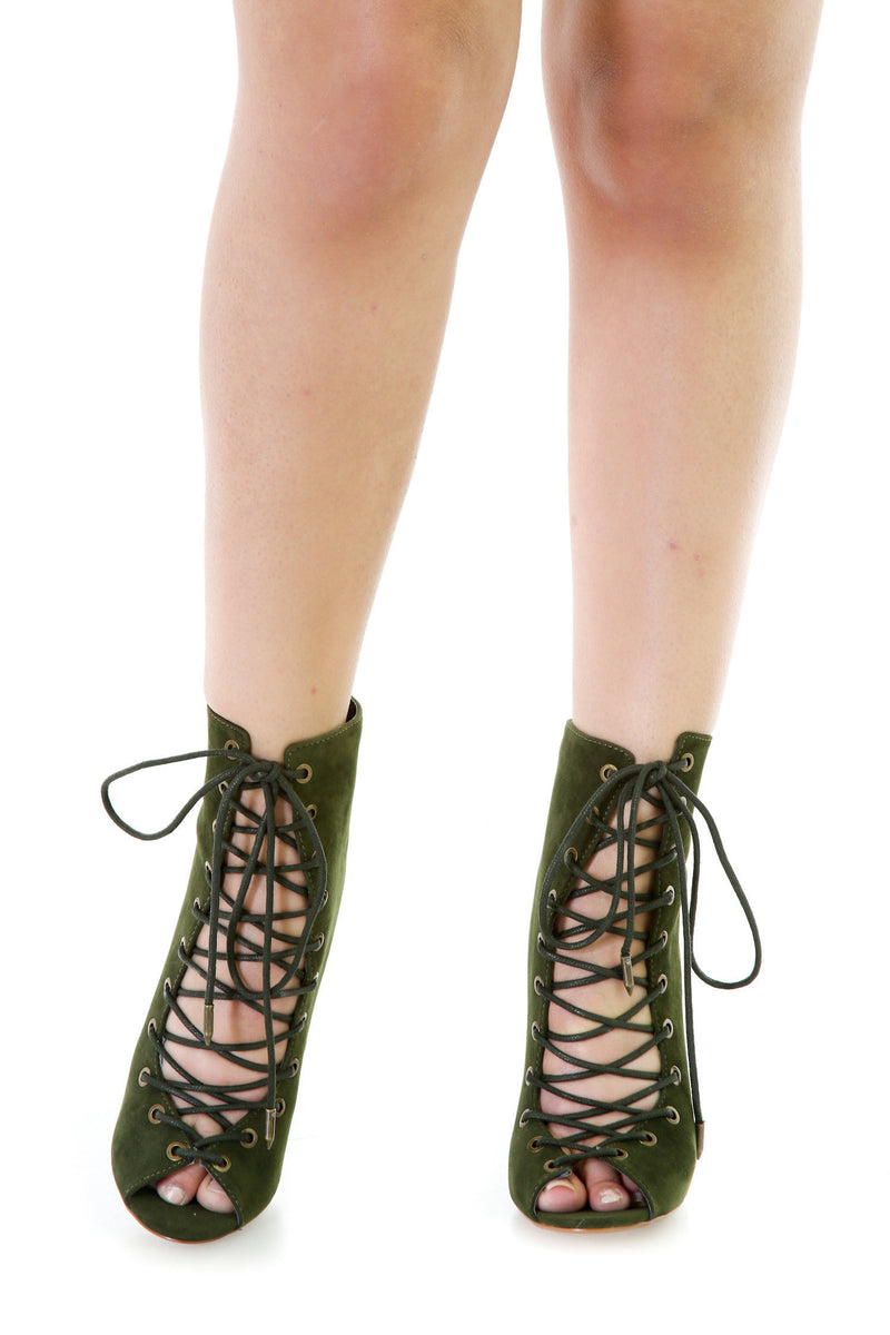 Faux Suede Lace Up Booties