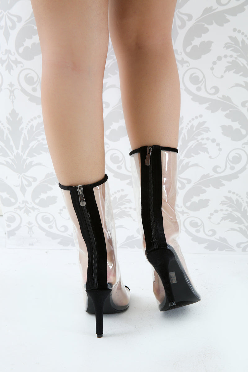 Velvet Trim Lucite Open Toe Heeled Mid Calf Boots