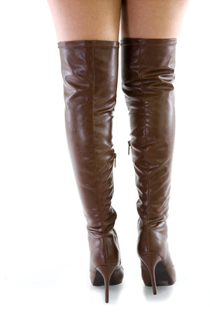 Breckelle Lace Up Over the Knee Pointy Toe Stiletto Faux Leather Boots