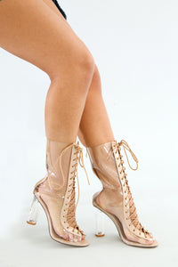 Bailey Tie Up Clear Heel Boots