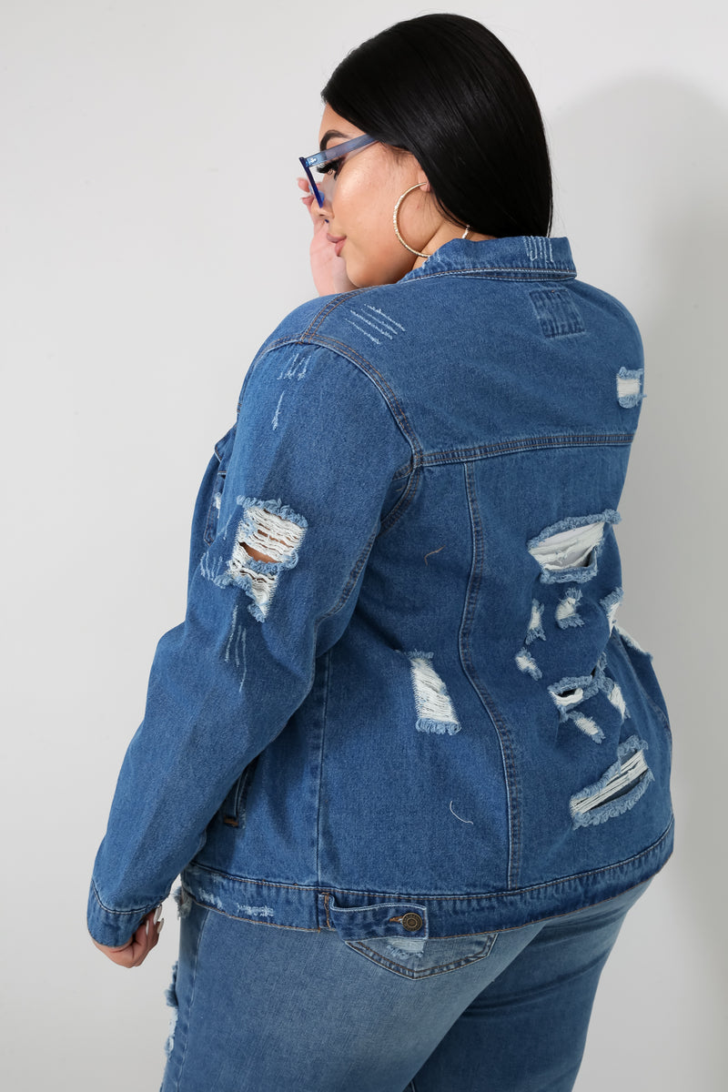 Disrupted Denim Jacket | GitiOnline