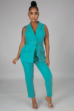 Business In The Front Pant Set