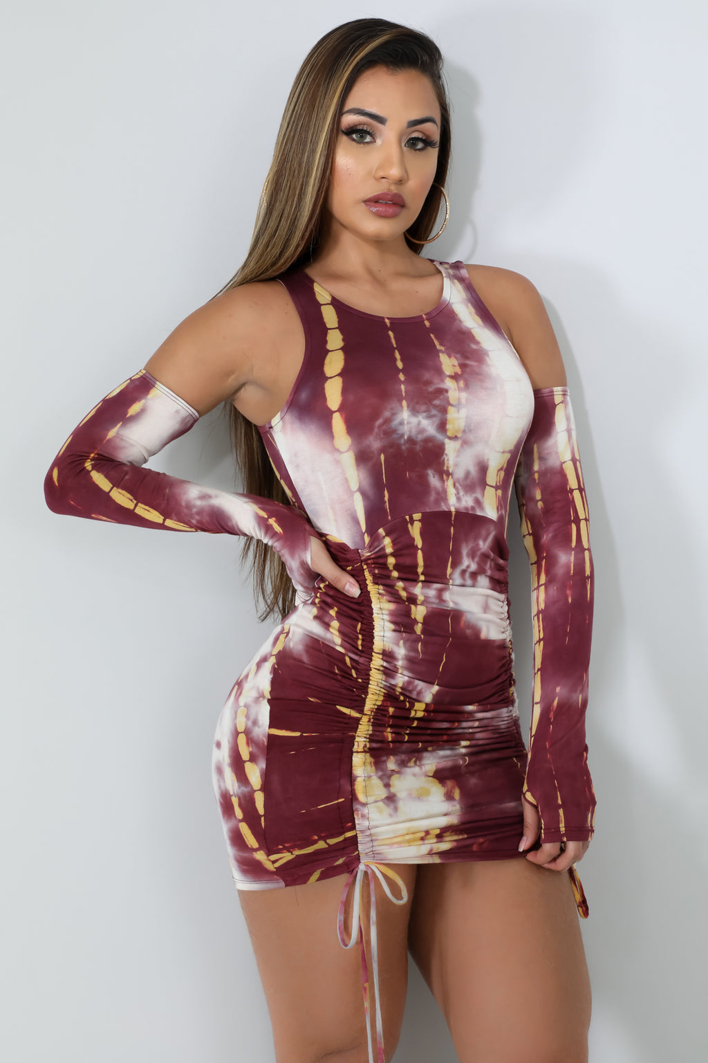 Ruched Tie Dye Dress