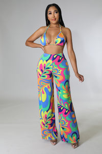 Pleated Tie Dye Maxi Skirt set