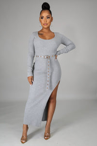 Lindsey Knit Slit Dress
