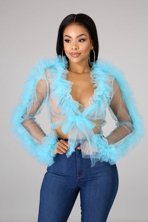 Tulle Sheer Tie Crop Top