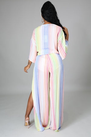 Trisha Striped Pant Set