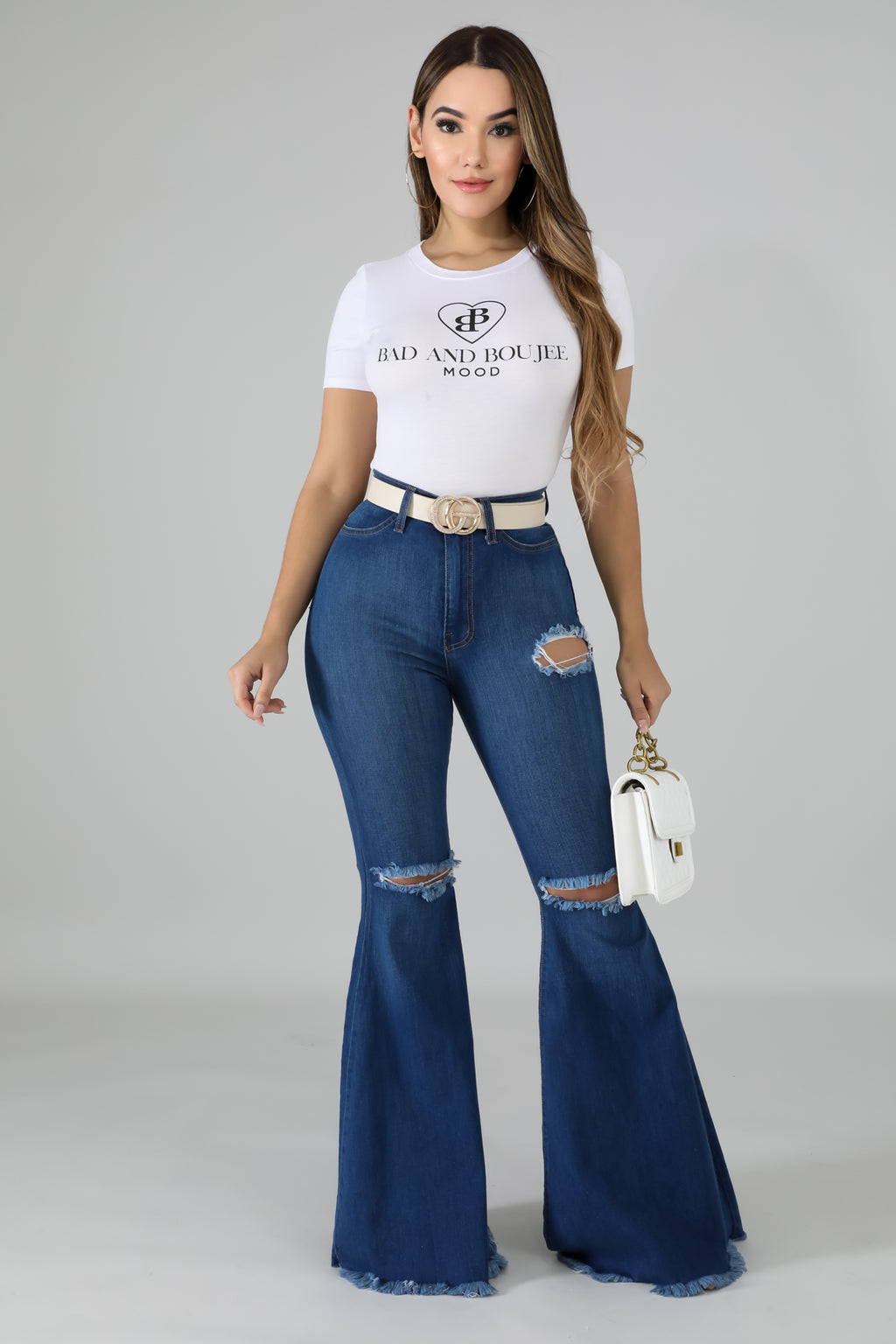 High Waist Raw Jeans | GitiOnline