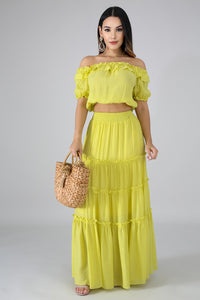 Ruffle Maxi Skirt Set | GitiOnline