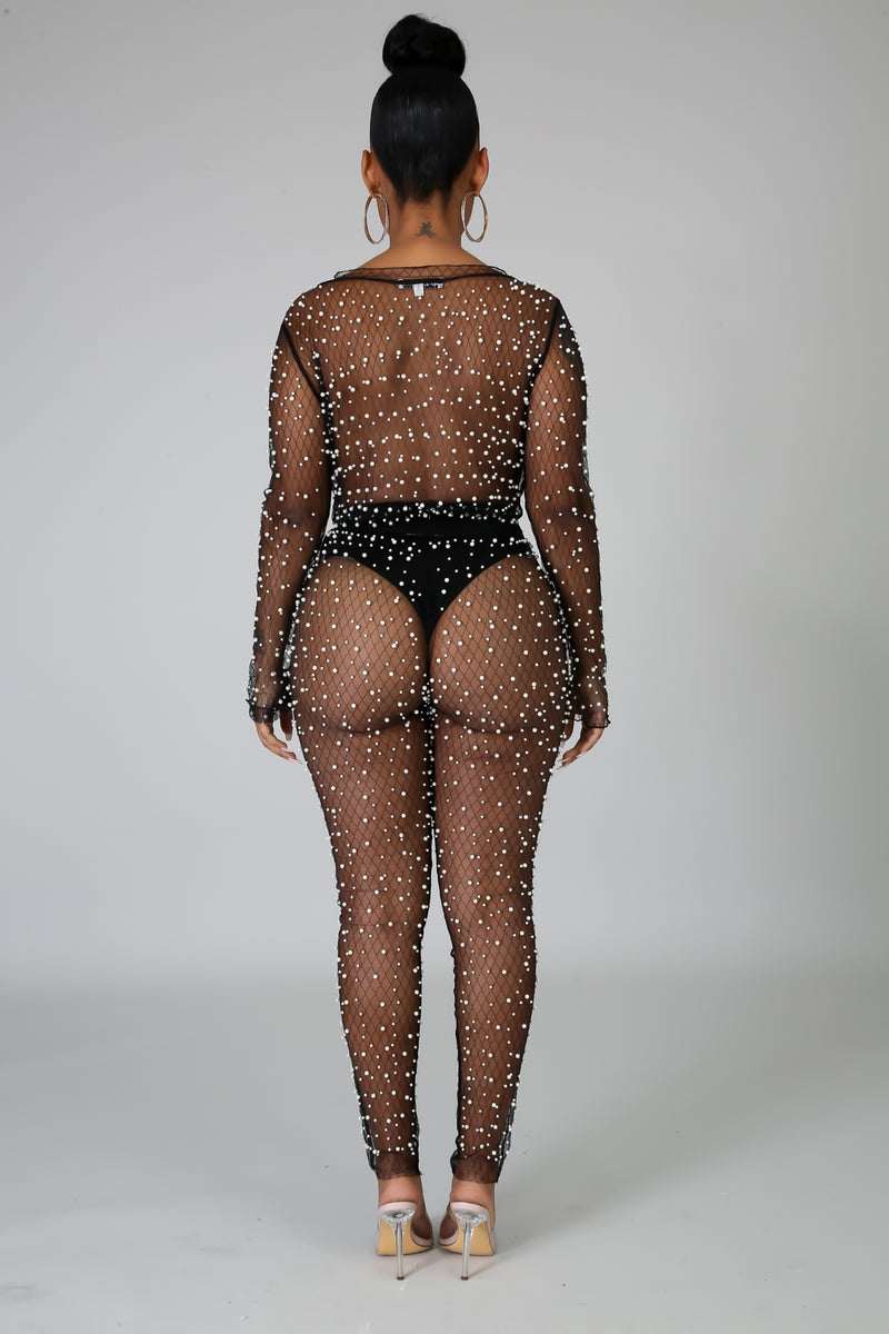 Pearl Sheer Bodysuit Pant Set