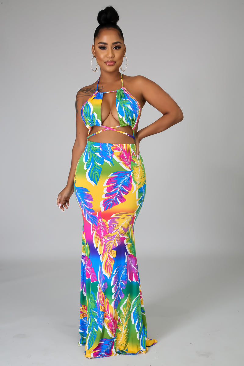 Color Palms Maxi Dress