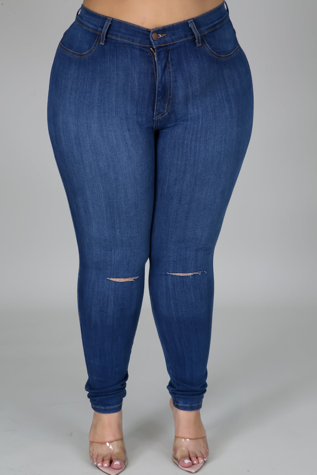 Knee Slit Denim Jeans