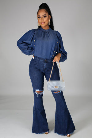 Your Biggest Fan Denim Top