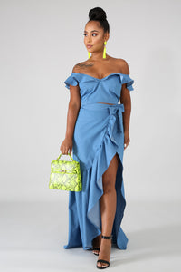Denim Wrap Maxi Skirt Set