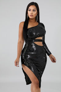 Sequin Slashed Body-Con Dress