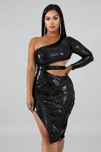 Sequin Slashed Body-Con Dress | GitiOnline